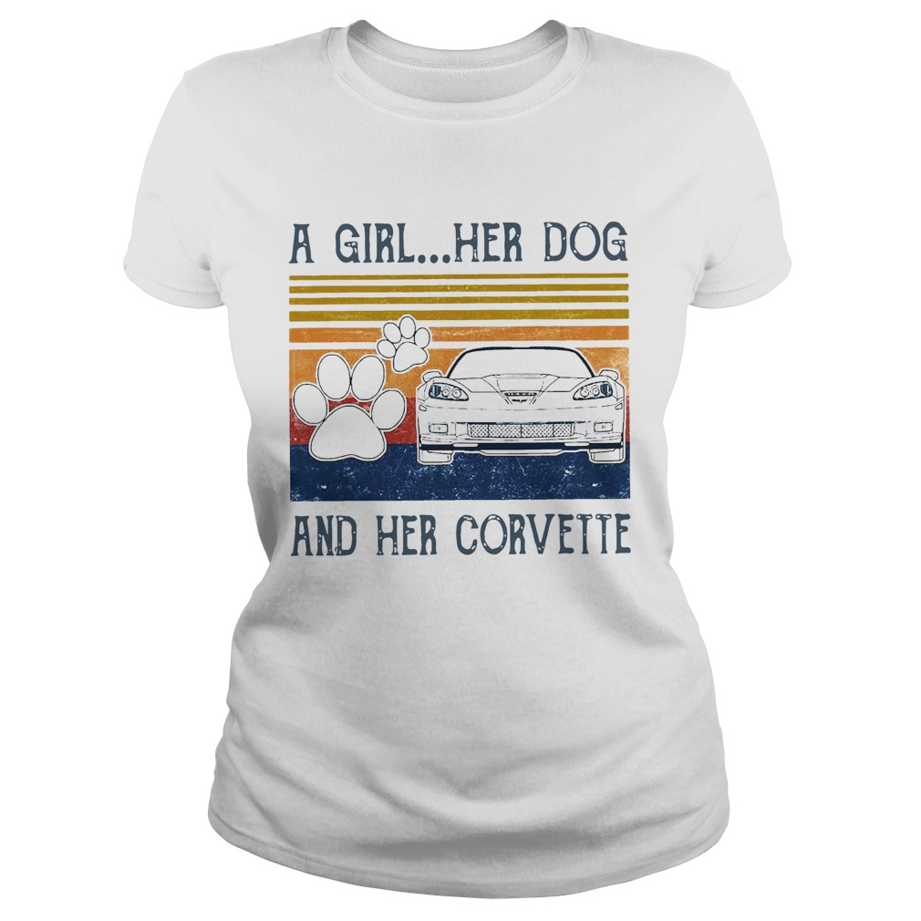 A Girl Her Dog And Her Corvette Vintage Classic Ladies