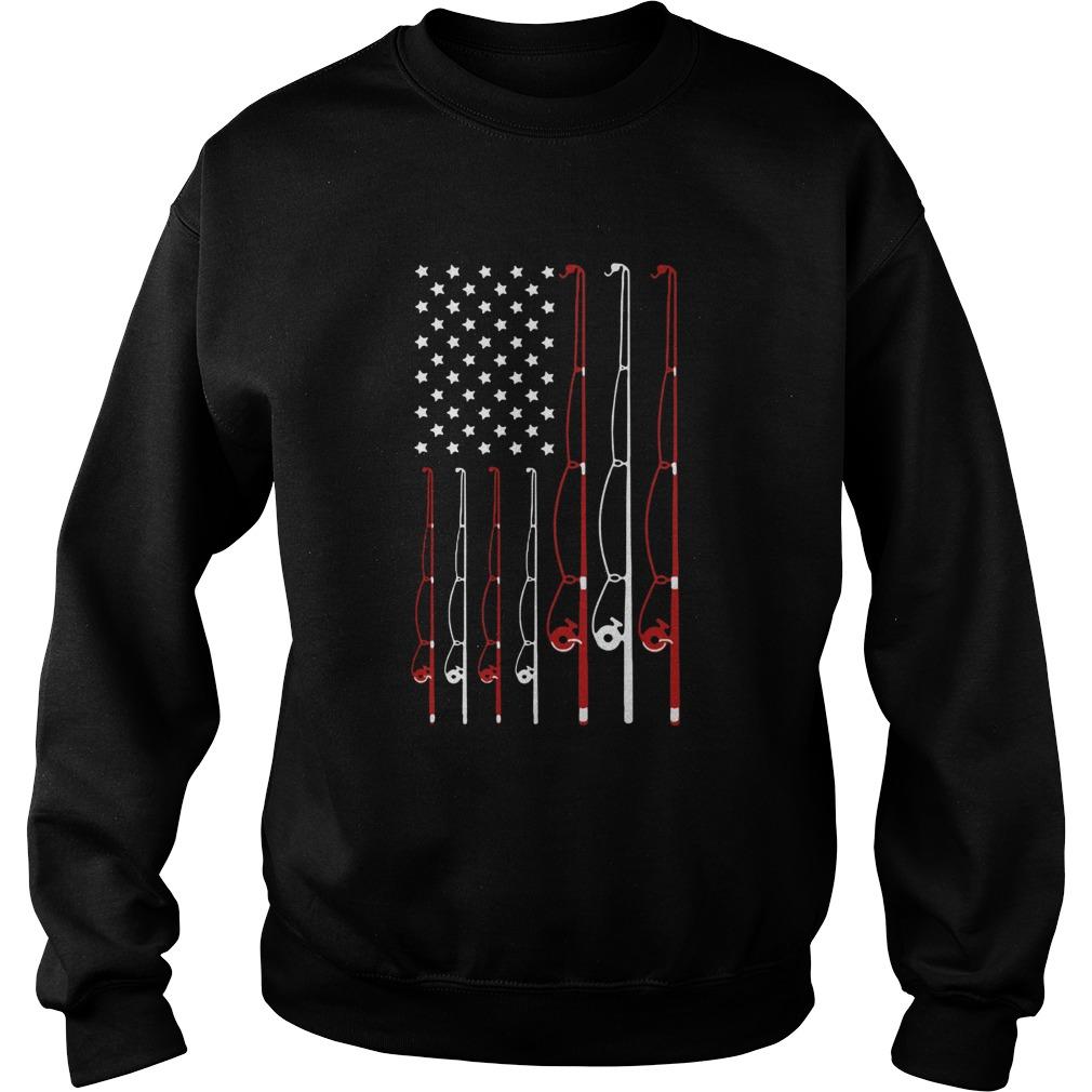 American Flag Fishing Rod  Sweatshirt