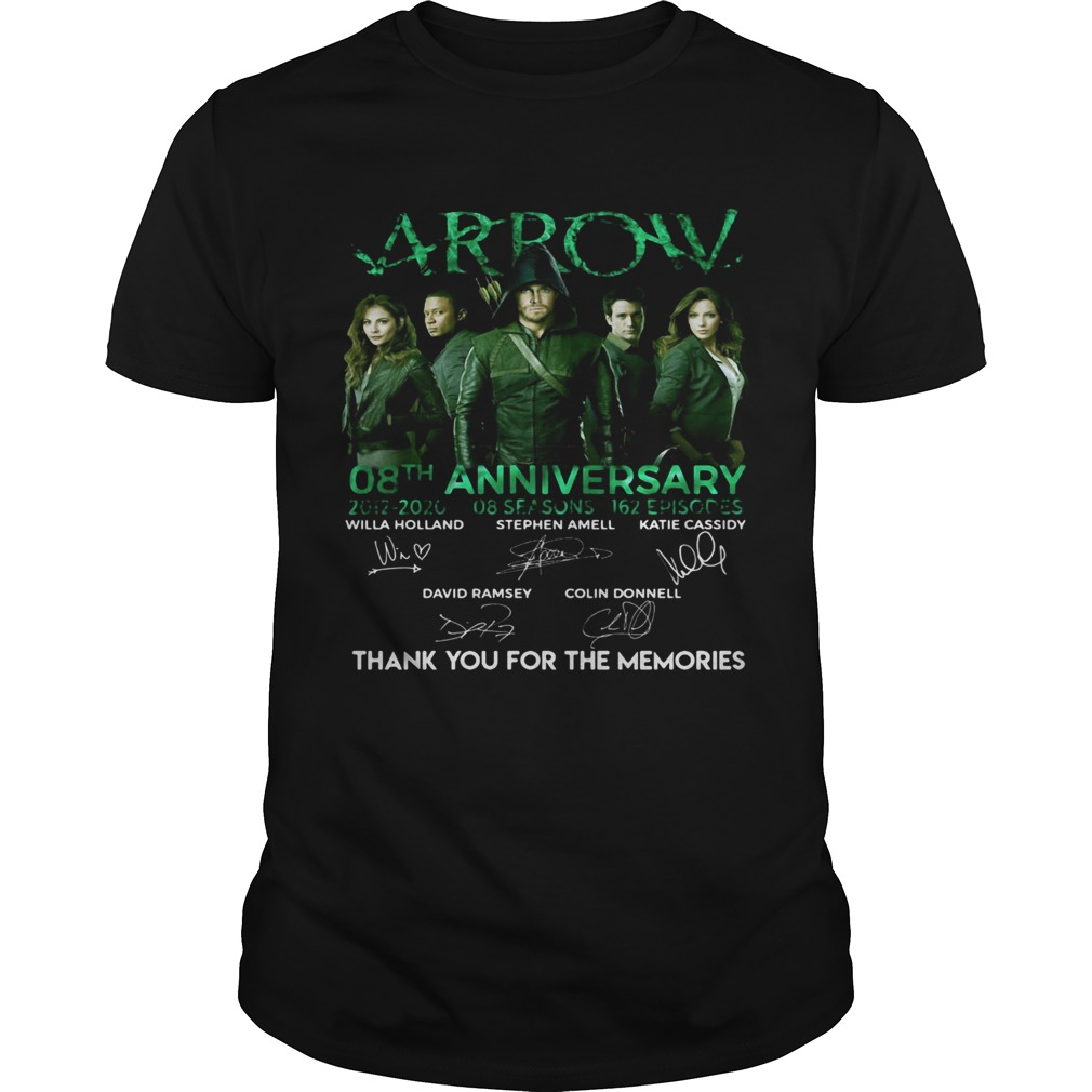 Arrow 08th anniversary 2012 2020 8 seasons 162 episodes thanks you for the memories signatures shir Unisex