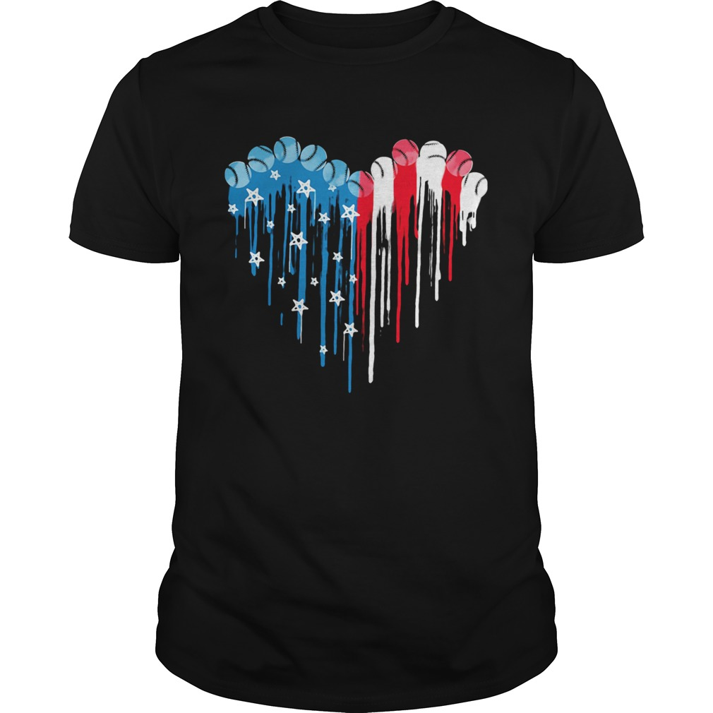 Baseball heart American flag veteran Independence Day  Unisex