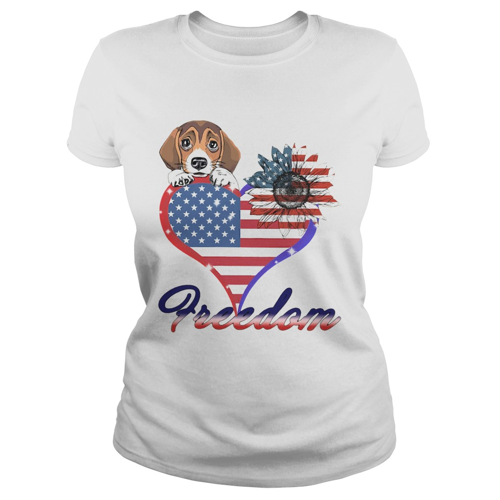 Beagle Dog Sunflower Heart American Flag Freedom Classic Ladies