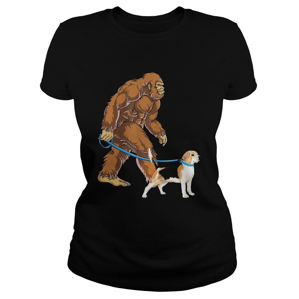 Bigfoot Sasquatch Walking Beagle  Classic Ladies