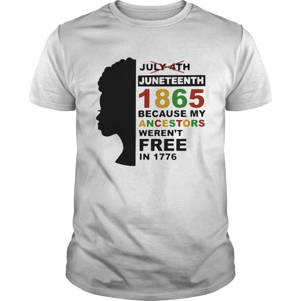 Black woman juneteenth day 1865 because my ancestors werent free in 1776  Unisex