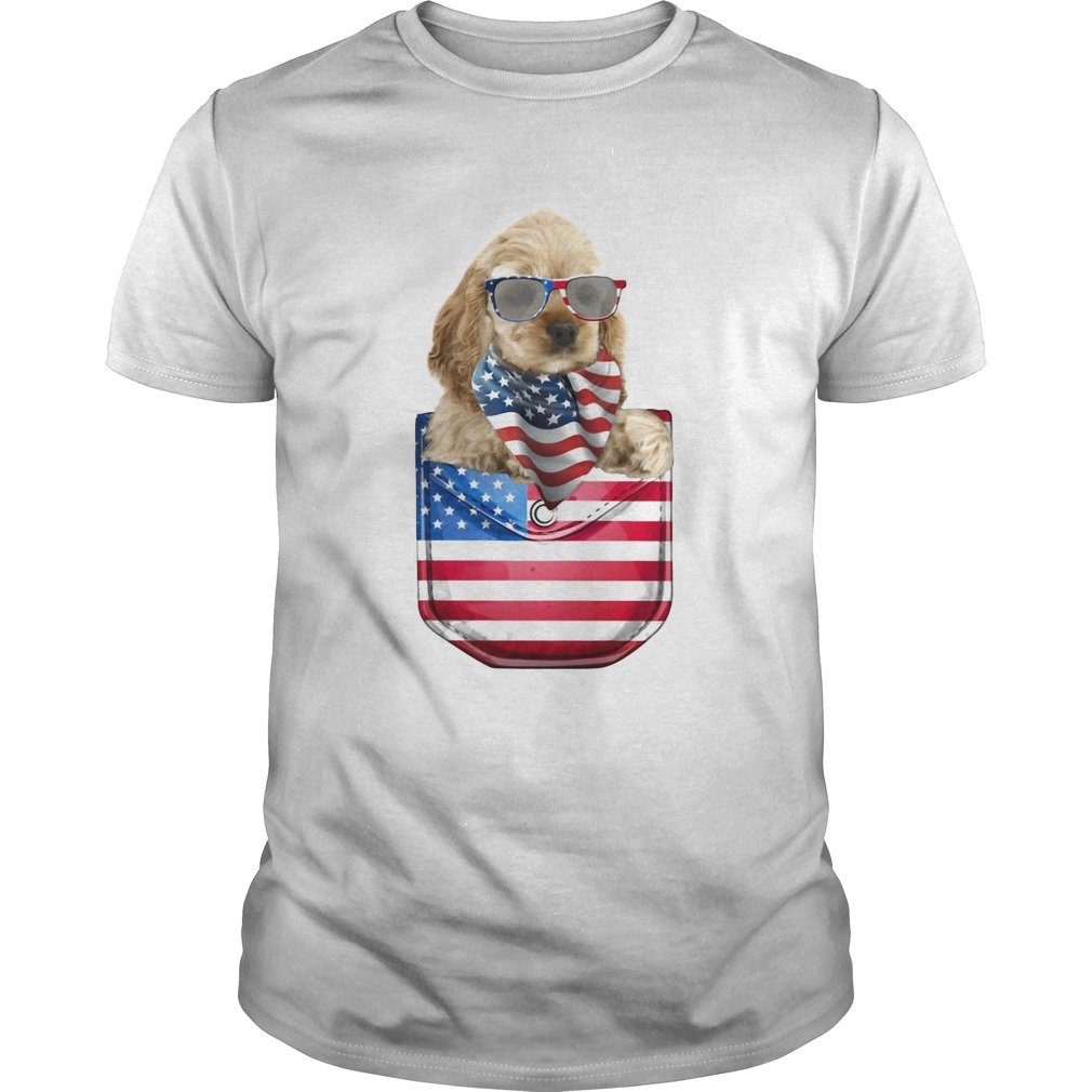 Buff cocker spaniel pocket american flag independence day  Unisex