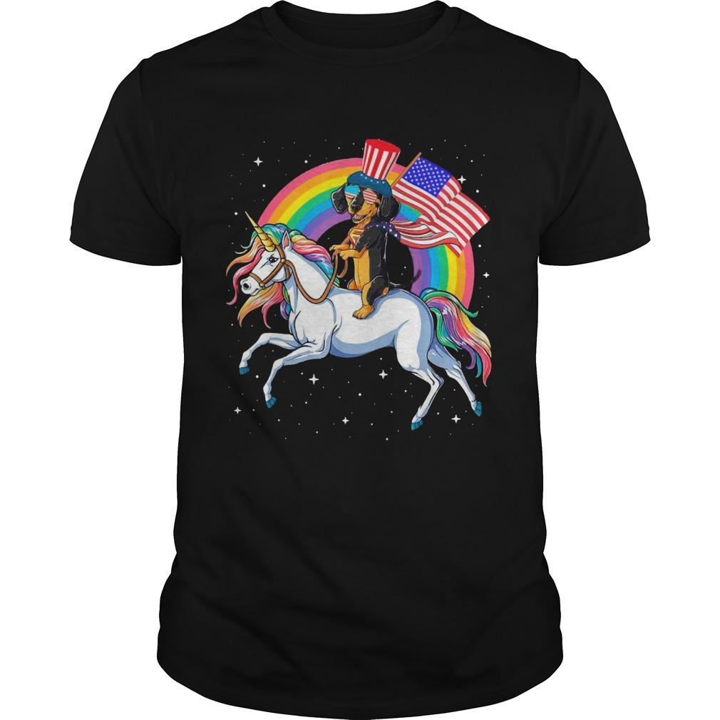 Dachshund Riding Unicorn Happy Independence  Unisex