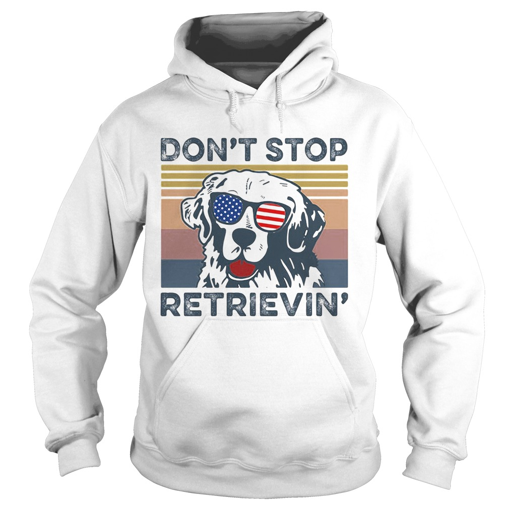 Dont Stop Retrievin Dog Golden Vintage Retro Independence Day  Hoodie