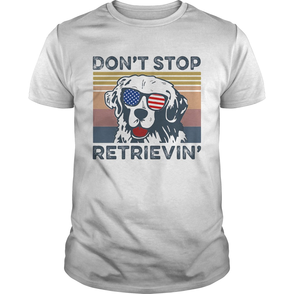 Dont Stop Retrievin Dog Golden Vintage Retro Independence Day  Unisex