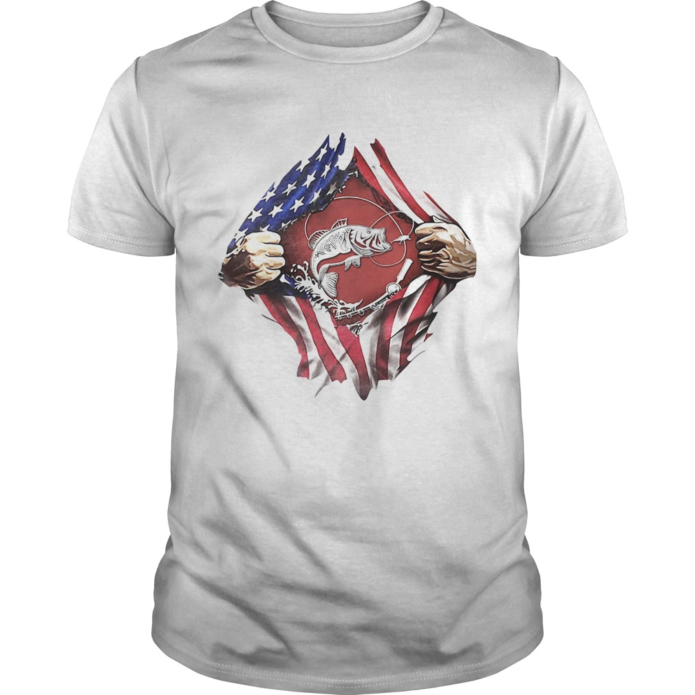 Fishing American flag veteran Independence Day hand  Unisex