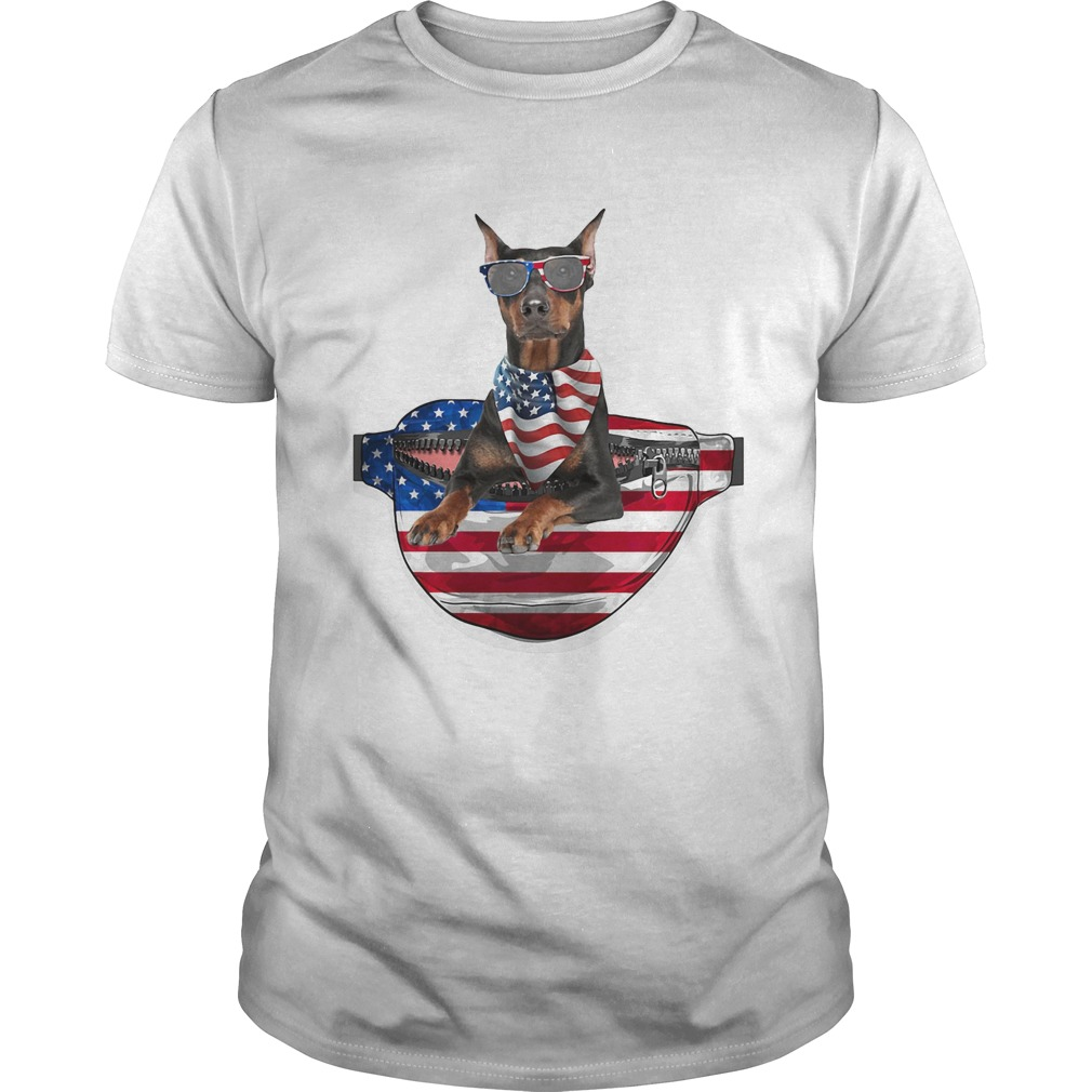 German pinscher waist pack flag american flag independence day  Unisex