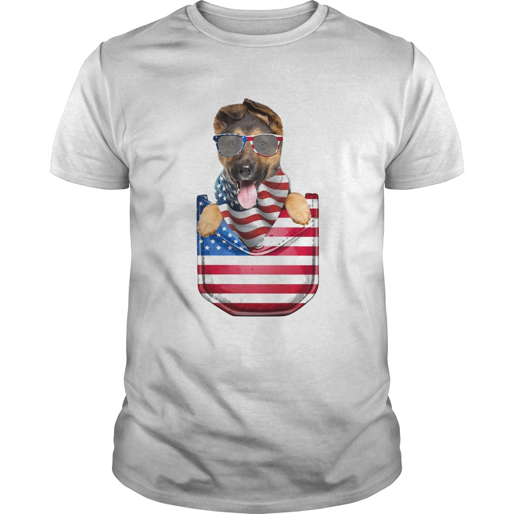 German shepherd pocket american flag independence day  Unisex
