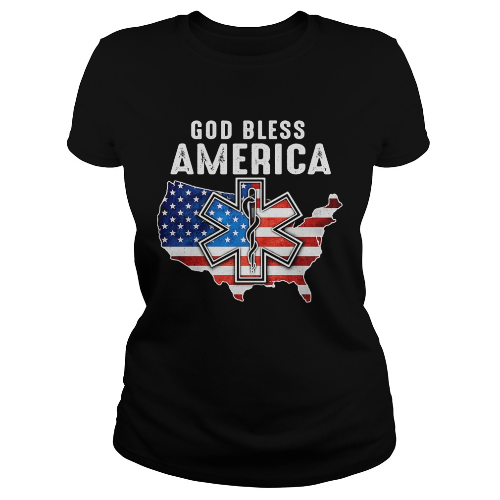 God bless American flag veteran Independence day Registered Nurse map  Classic Ladies