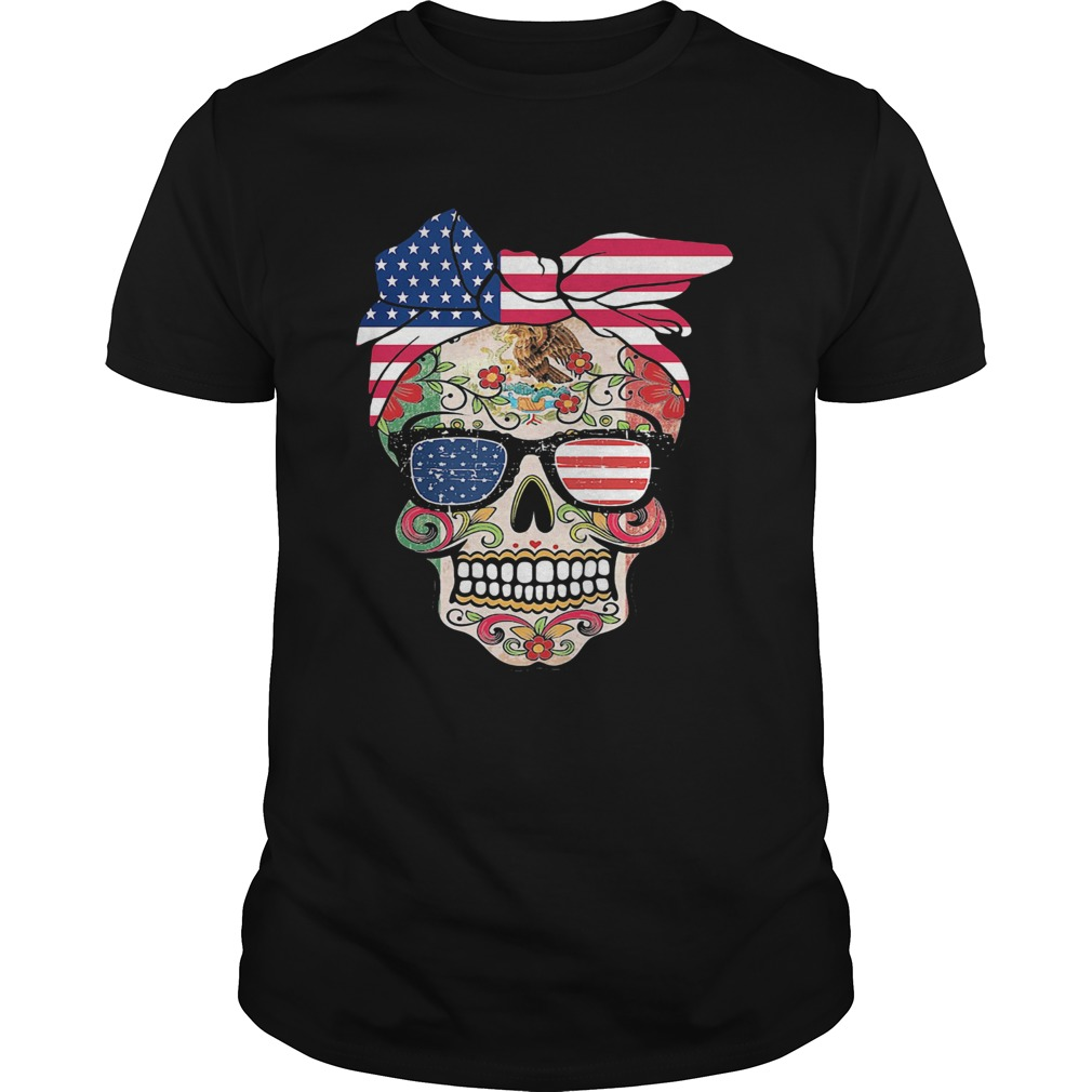 Hippie skull american flag independence day  Unisex