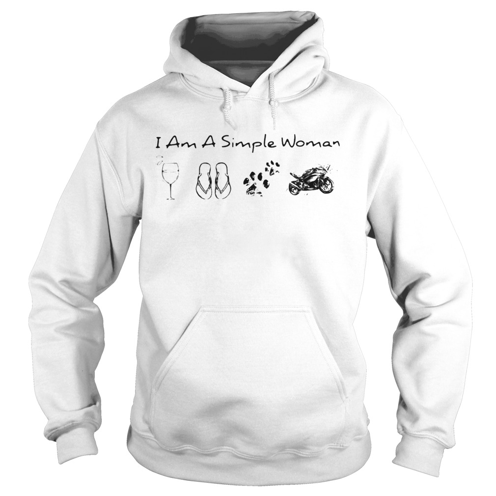I Am A Simple Woman Wine Flop Paw Dog And Motorcycle  Hoodie