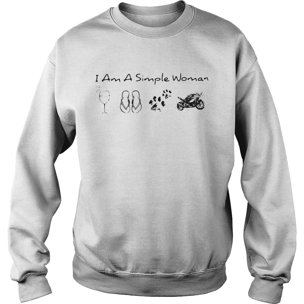 I Am A Simple Woman Wine Flop Paw Dog And Motorcycle  Sweatshirt