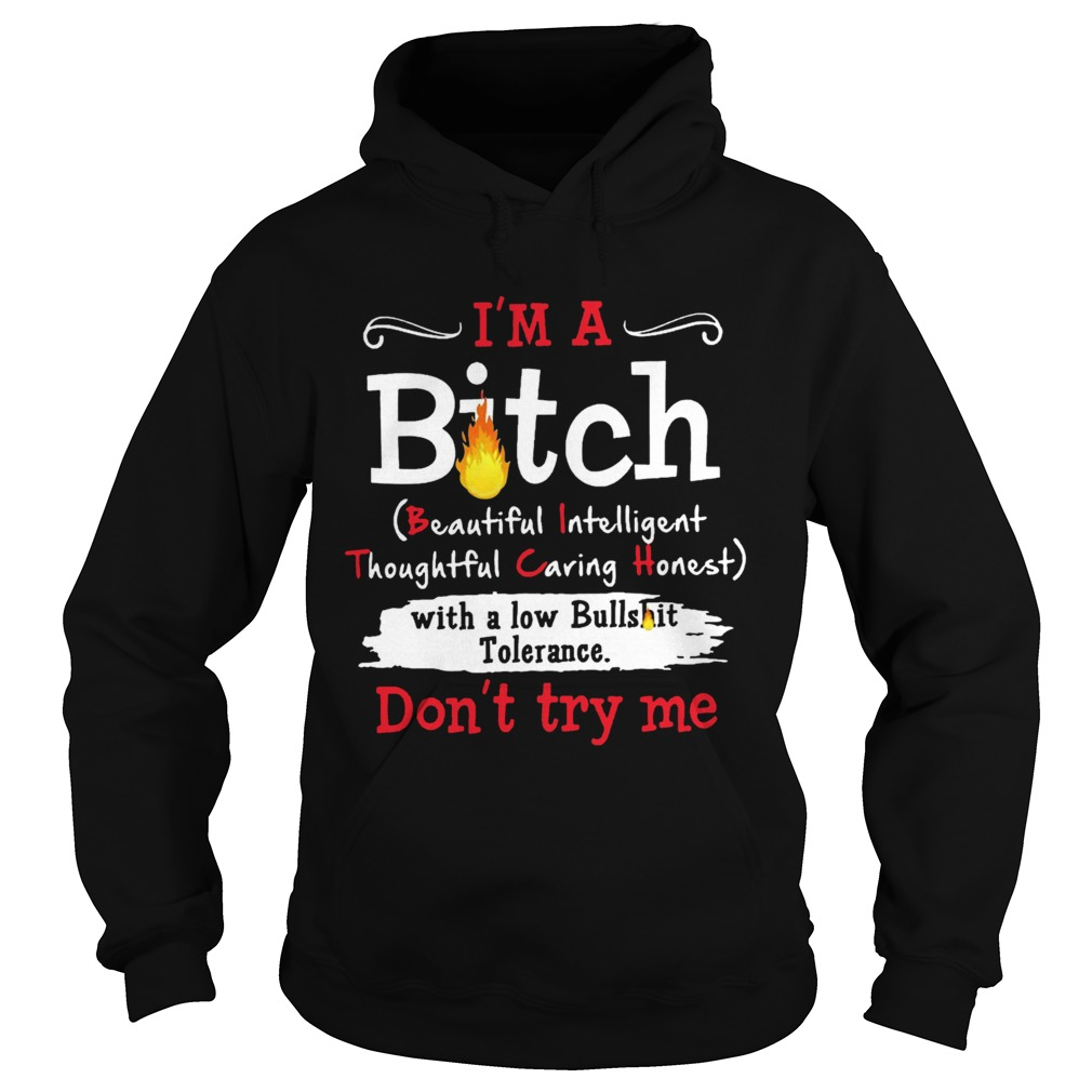 Im A Bitch With A Low Bullshit Bitch Tolerance Dont Try Me  Hoodie