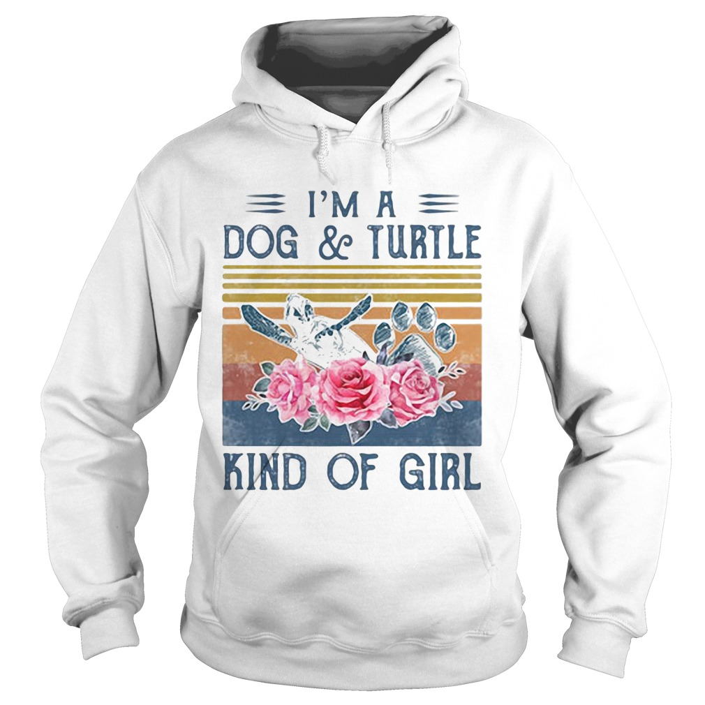 Im a paw dog and turtle kind of girl flowers vintage retro  Hoodie
