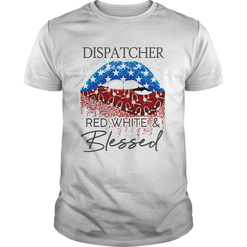 Lips dispatcher red white and blessed american flag independence day  Unisex