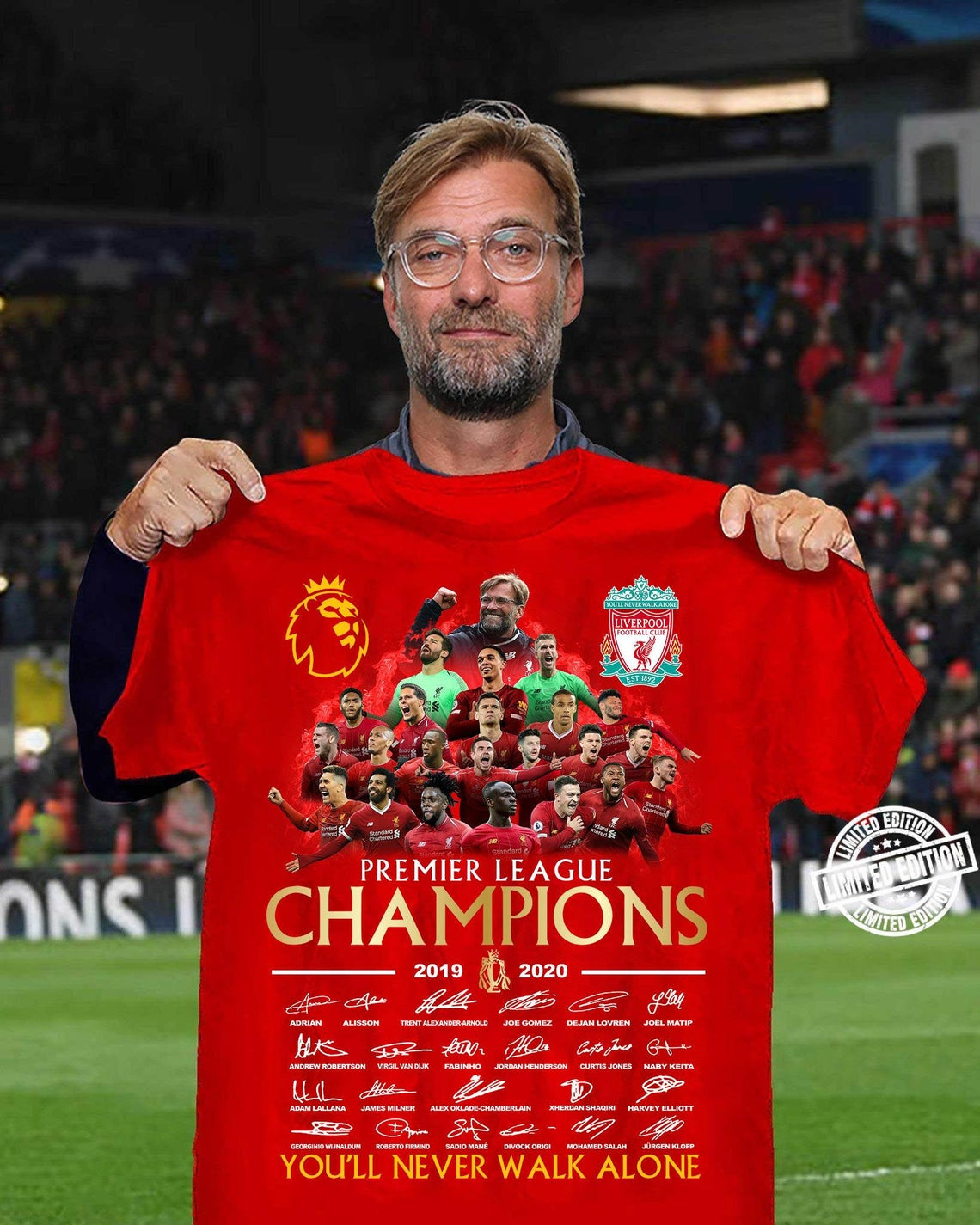 Liverpool Premier League Champions 2020 White Red UK - Liverpool FC Funny Fashion T-Shirt