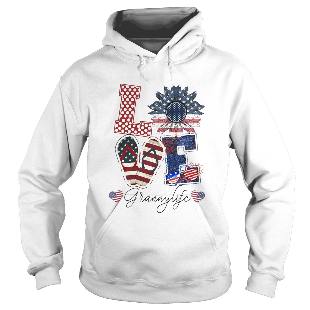 Love Grannylife Heart Flower American Flag Independence Day  Hoodie