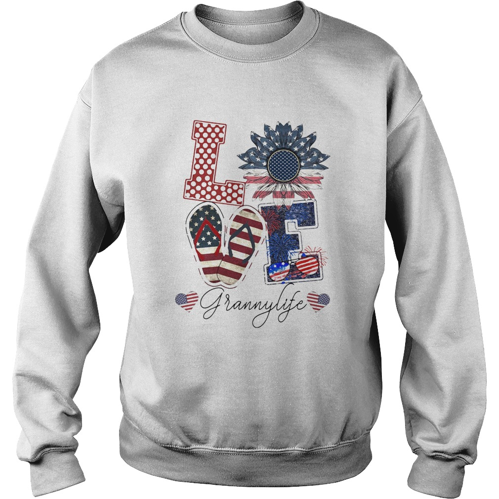 Love Grannylife Heart Flower American Flag Independence Day  Sweatshirt