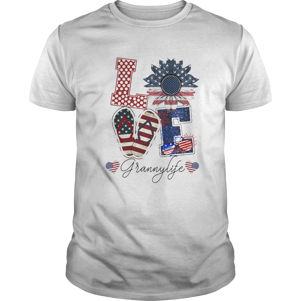 Love Grannylife Heart Flower American Flag Independence Day  Unisex