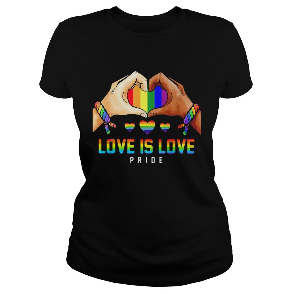 Love Is Love Pride Hand Heart LGBT  Classic Ladies