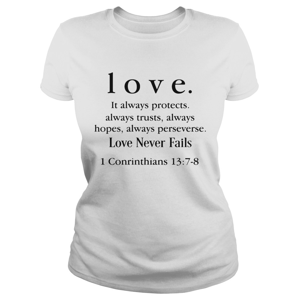 Love It Always Protects Always Trusts Always Hopes Always Perseverse Love Never Fails Conrinthians Classic Ladies