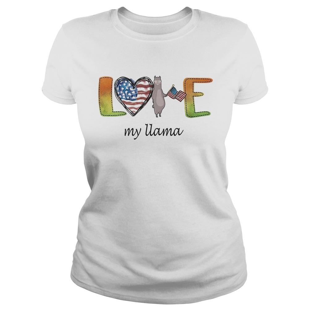 Love my Llama American flag LGBT  Classic Ladies