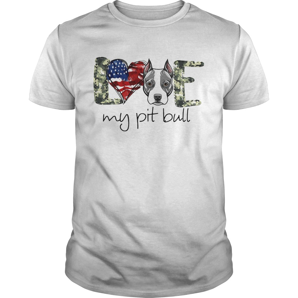 Love my pit bull heart American flag veteran Independence day  Unisex