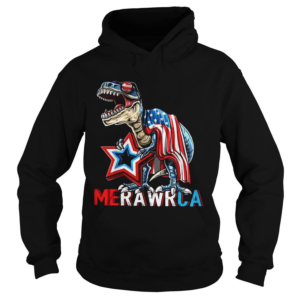 Merica Trex Dinosaur 4th Of July American Flag  Hoodie