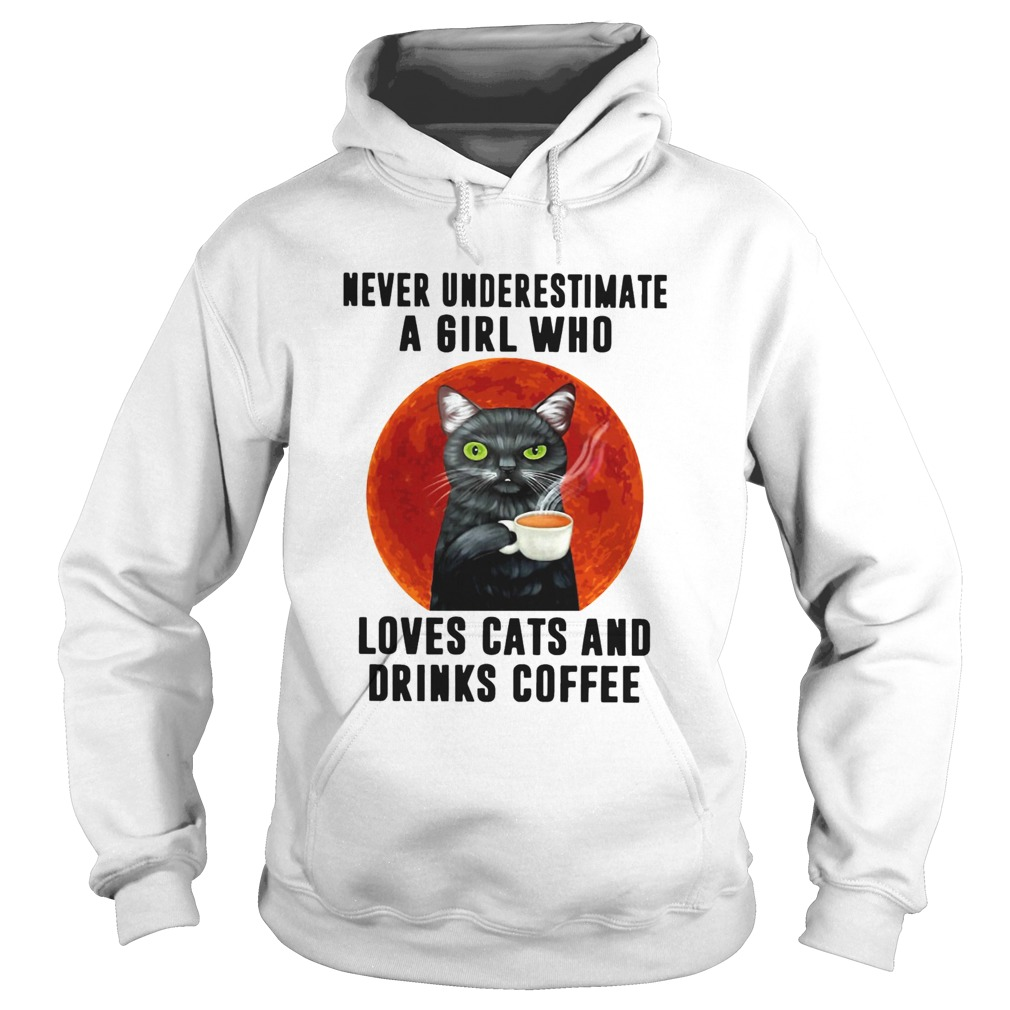 Never Underestimate A Girl Who Loves Cats And Drinks Coffee Moon  Hoodie