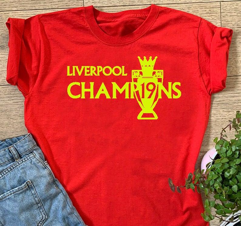 Premier League Winners, LIVERPOOL CHAMPIONS TROPHY 2020 Tshirt Champions League Winners 19 Never Give Up