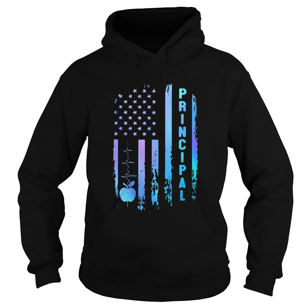 Principal heartbeat american flag independence day  Hoodie