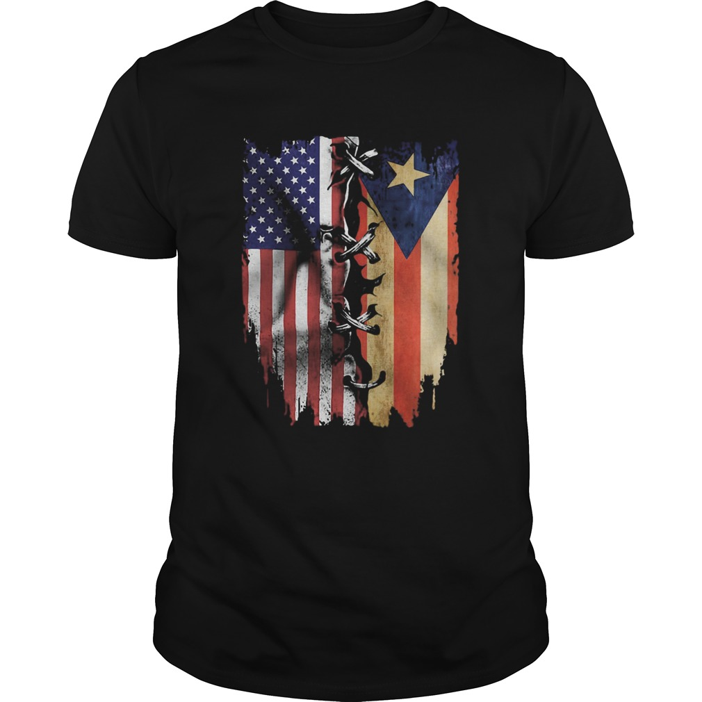 Puerto Rico and American flag veteran Independence Day  Unisex