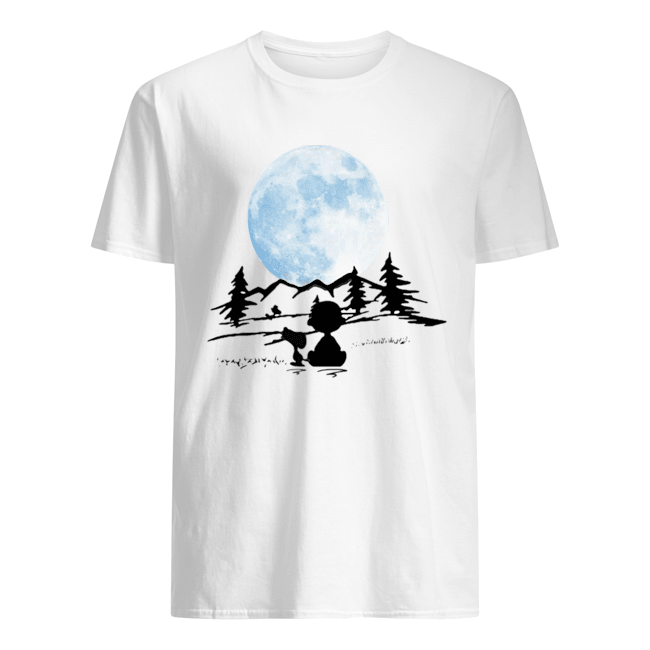 Snoopy and charlie brown camping moon  Classic Men's T-shirt