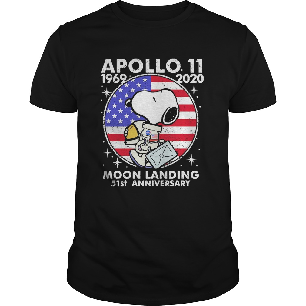 Snoopy apollo 1969 2020 moon landing 51st anniversary american flag independence day vintage  Unisex