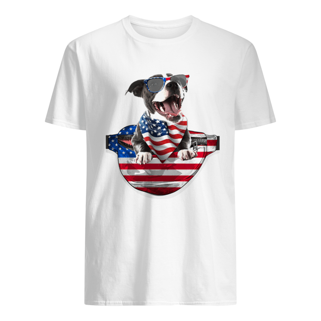 Staffordshire bull terrier waist pack flag american flag independence day  Classic Men's T-shirt