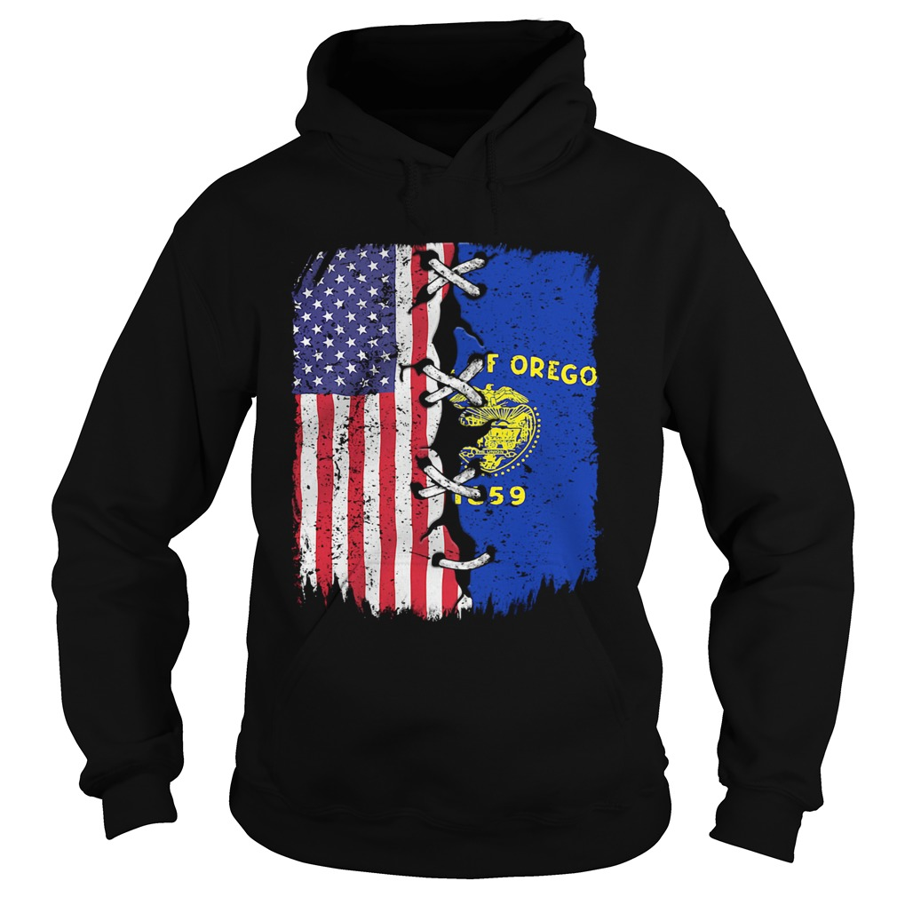State Of Oregon 1859 And American Flag Independence Day  Hoodie