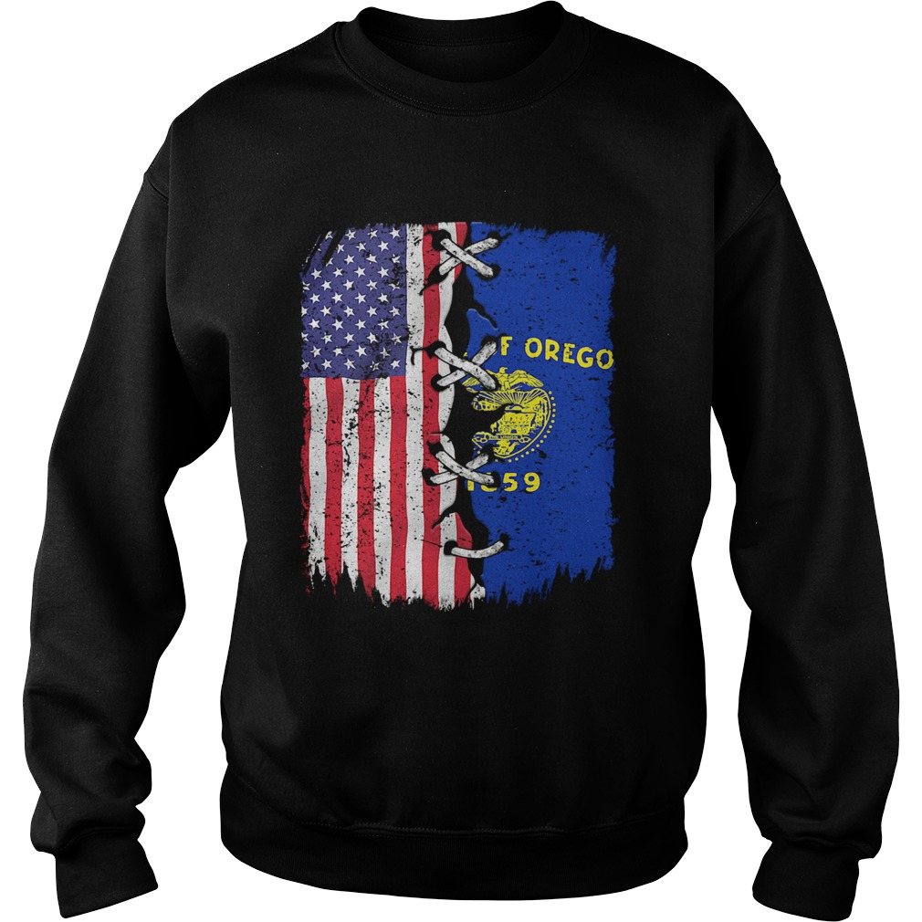 State Of Oregon 1859 And American Flag Independence Day  Sweatshirt