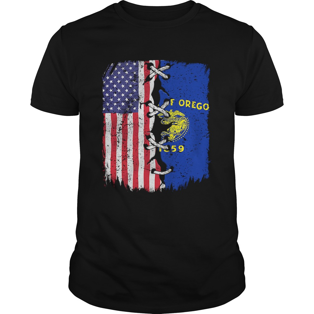 State Of Oregon 1859 And American Flag Independence Day  Unisex
