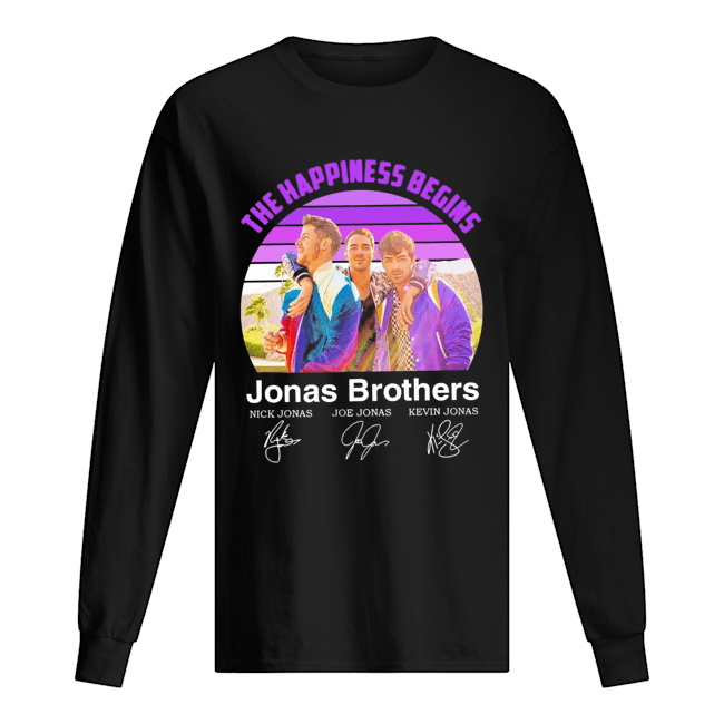 The Happiness Begins Jonas Brothers Signatures  Long Sleeved T-shirt