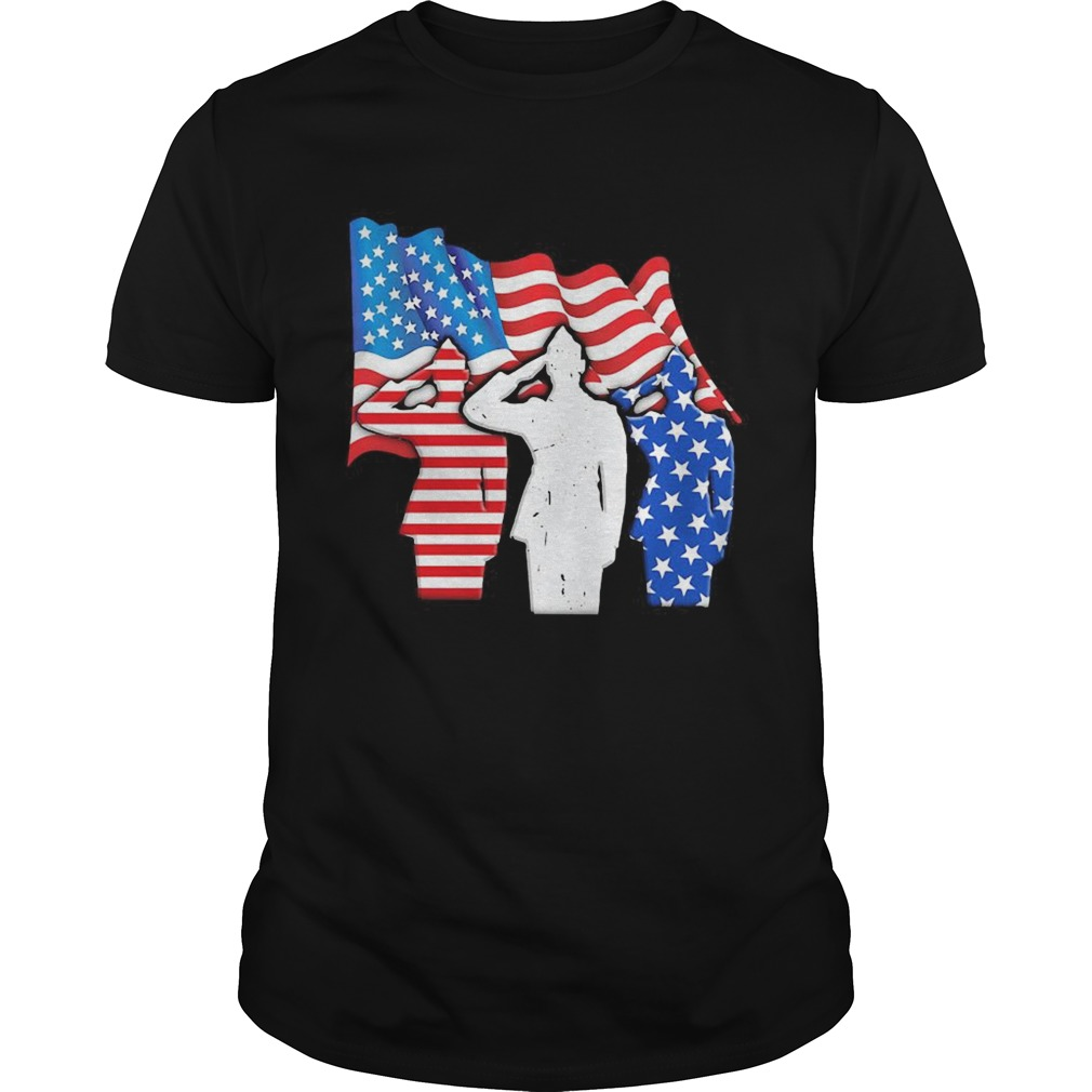 The Soldier Salutes American Flag Independence Day  Unisex