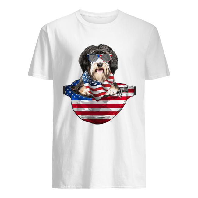 Tibetan terrier waist pack flag american flag independence day  Classic Men's T-shirt