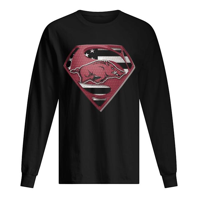 University Of Arkansas Hog Superman  Long Sleeved T-shirt
