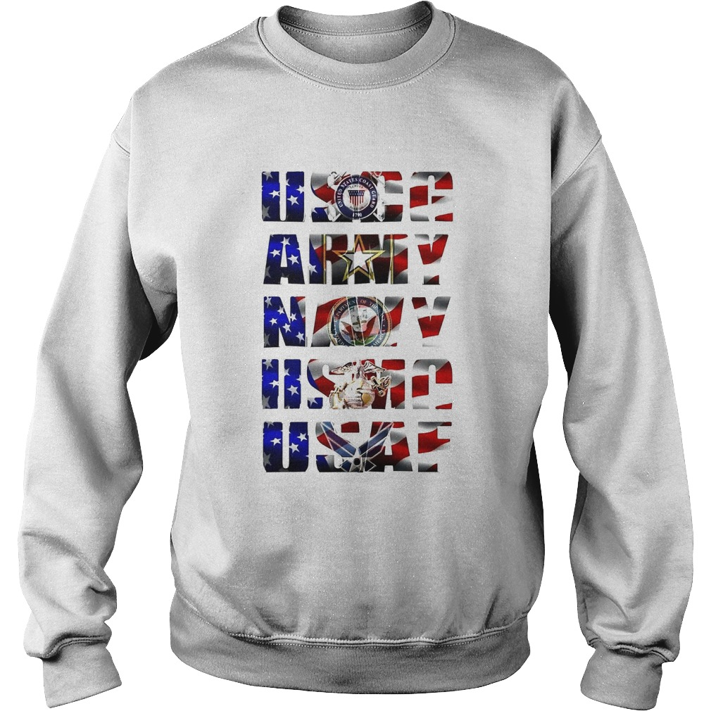 Uscg army navy usaf american flag independence day  Sweatshirt