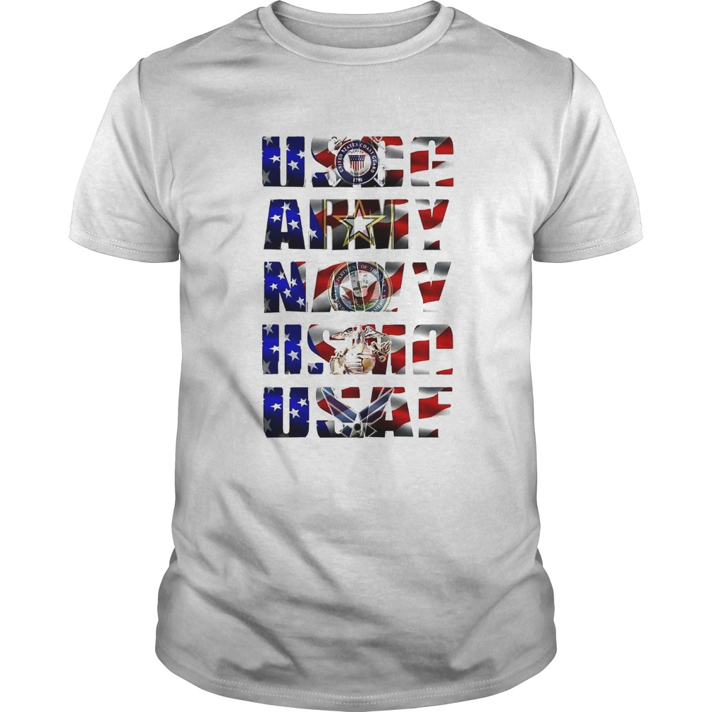 Uscg army navy usaf american flag independence day  Unisex