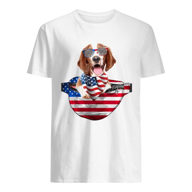 Welsh springer spaniel waist pack american flag independence day  Classic Men's T-shirt