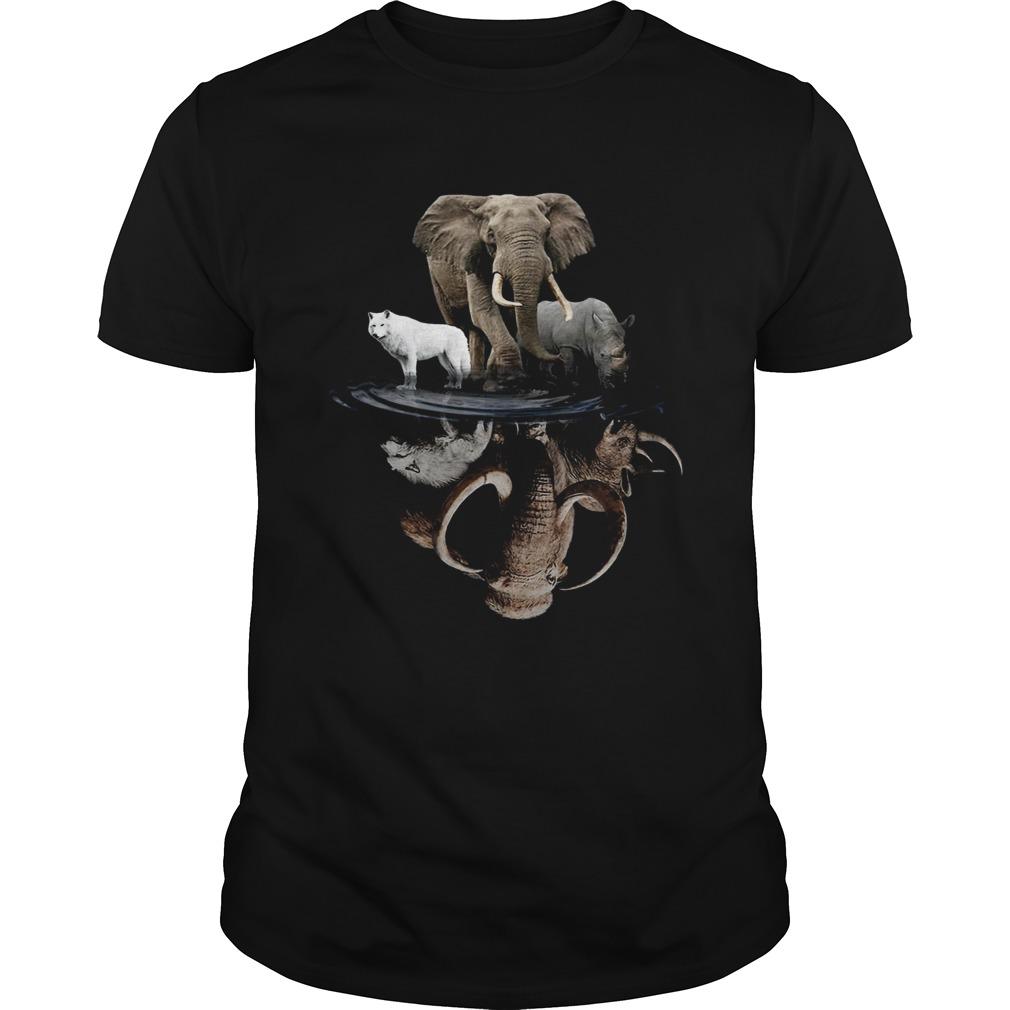 Wolf Elephant And Rhino Water Reflection  Unisex