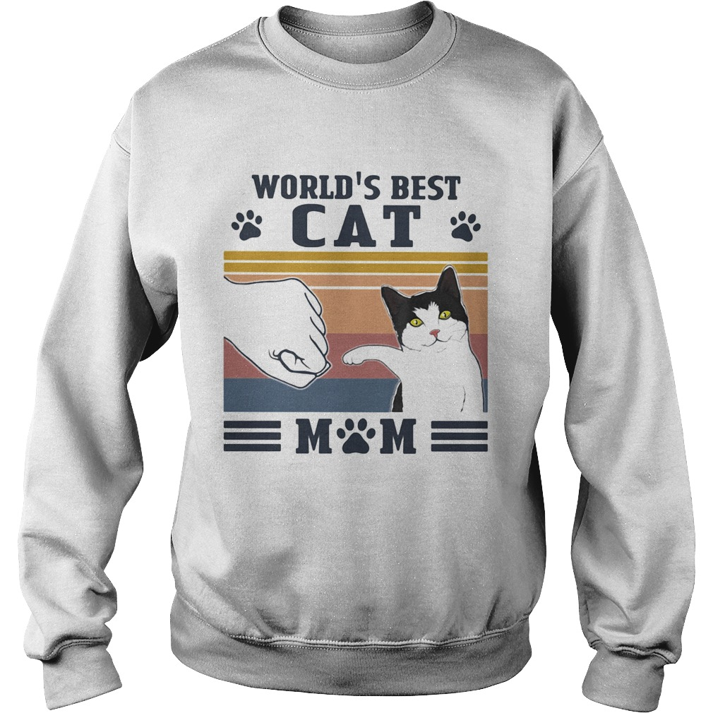 Worlds best Cat mom paw vintage  Sweatshirt