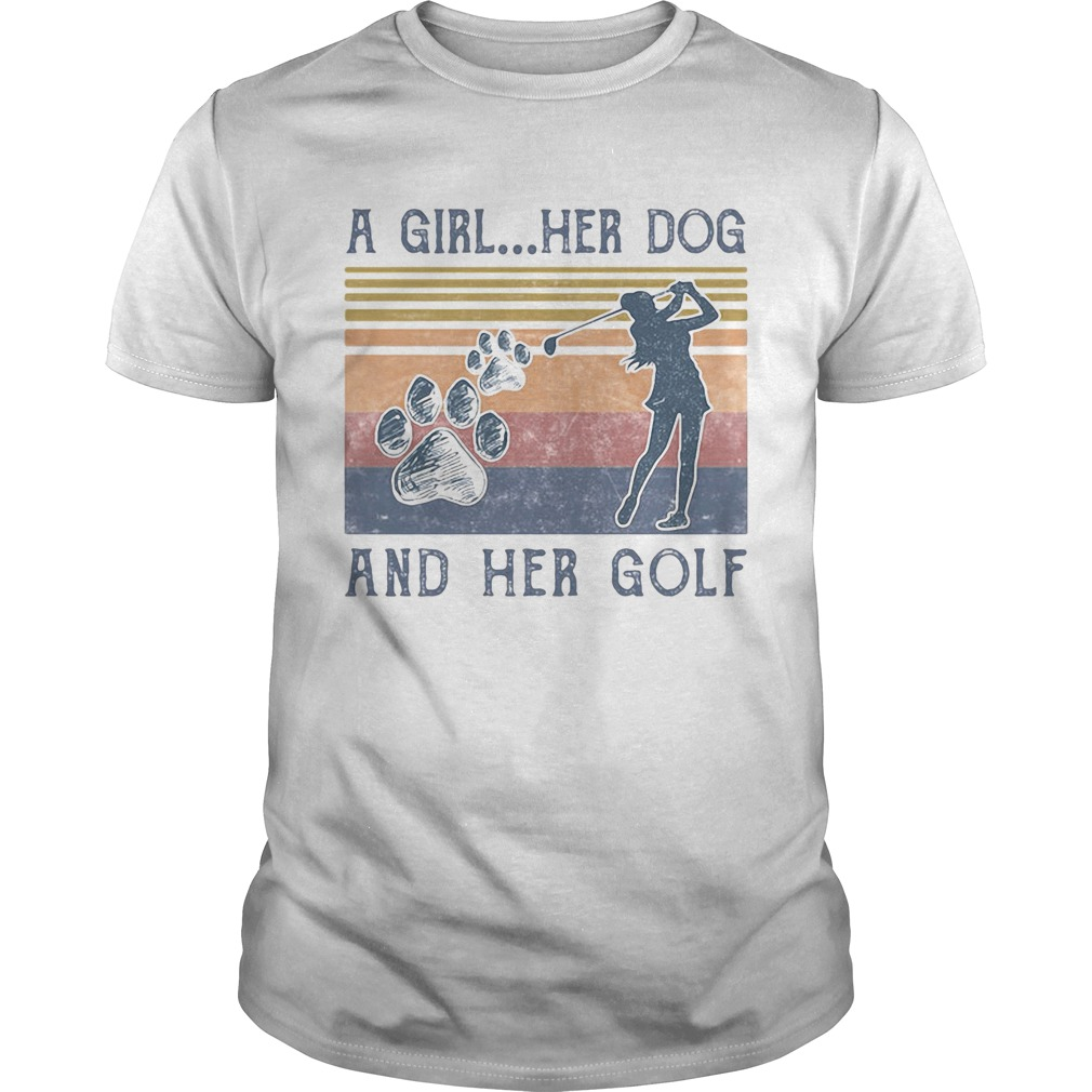 A Girl Her Dog And Her Golf Footprint Vintage Retro  Unisex